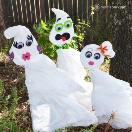 Halloween Trash Bag Yard Ghosts Tutorial