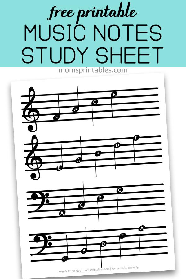 Free Printable Music Notes Sheet Mom S Printables
