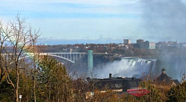 Niagara Falls behind the falls