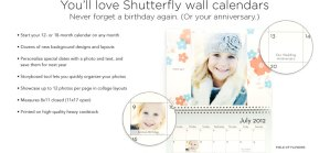 FREE Custom Photo Calendar From Shutterfly + 40% Off Everything Else