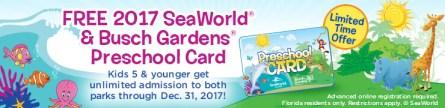 Preschool Card Busch Gardens Tampa Seaworld