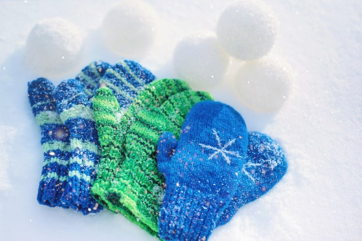 blue and green color mittens