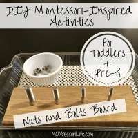 DIY Montessori-Inspired Activities for Toddlers and Preschoolers -- Nuts and Bolts Board