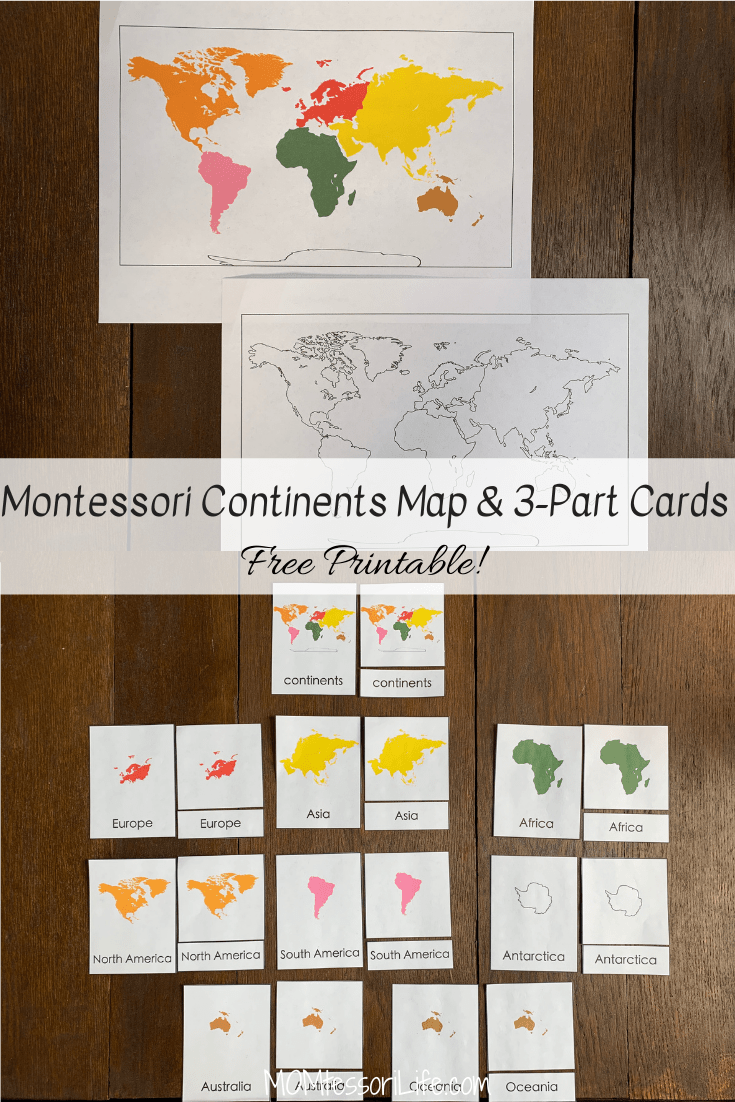 Montessori Continents Map 3 Part Cards Free Printable Momtessori Life