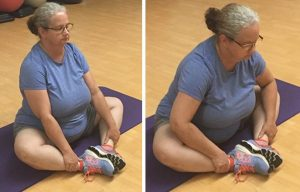 Stretching for flexibility: Butterfly stretch loosens tendons in the hips.