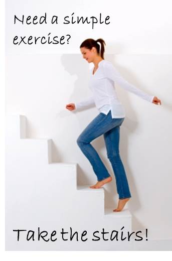 Take the stairs for a simple exercise boost.