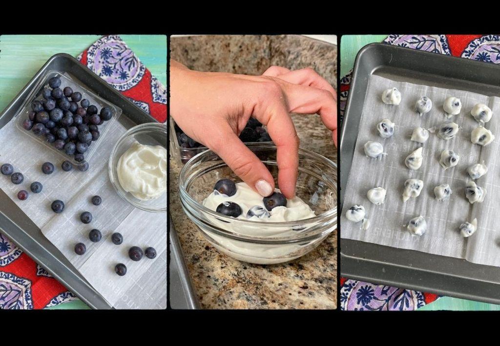 How to make frozen yogurt blueberry bites.