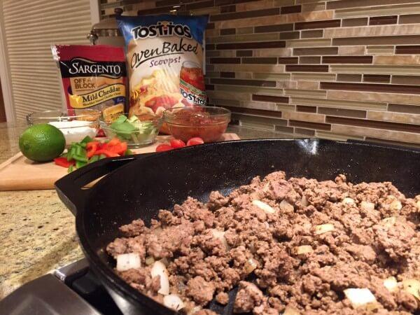 Ground Beef Skillet Nachos @katieserbinski