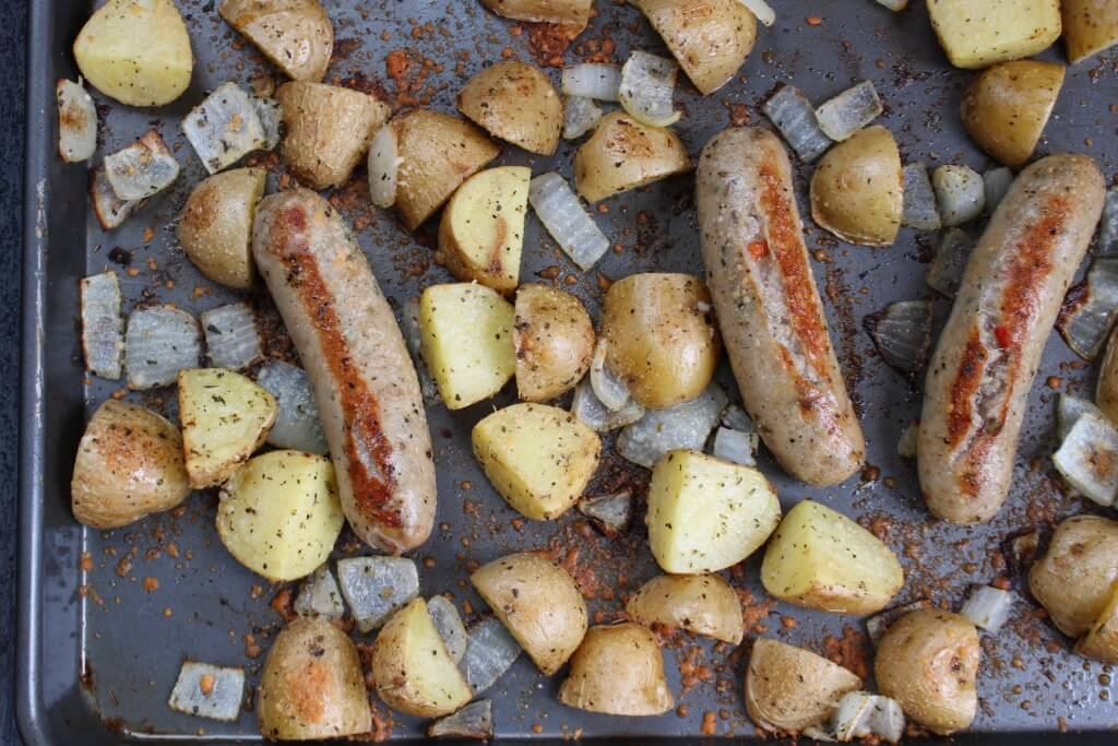 Sausage, potatoes, and onions come together to make an easy weeknight meal ready in 30 minutes and complete with one dish to clean.