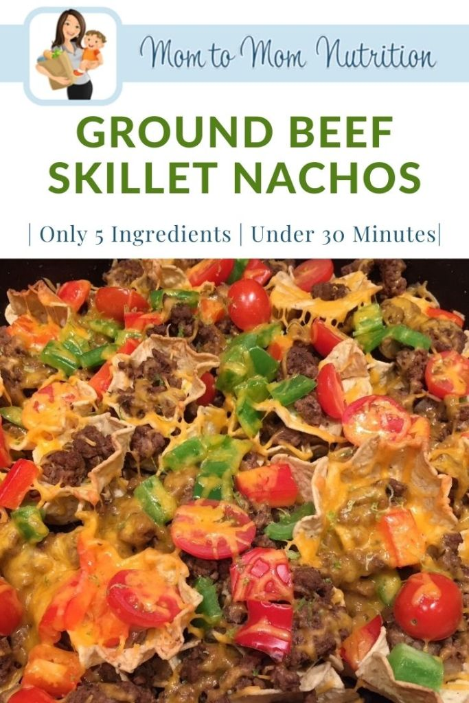 Ground Beef skillet nachos make an easy weeknight meal ready in less than 30 minutes and packed with healthy foods like lean beef and veggies.
