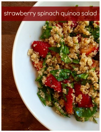 Strawberry spinach quinoa salad makes a light and refreshing side salad or main dish for any summer occasion. In season ingredients and protein-packed quinoa make the perfect combination!