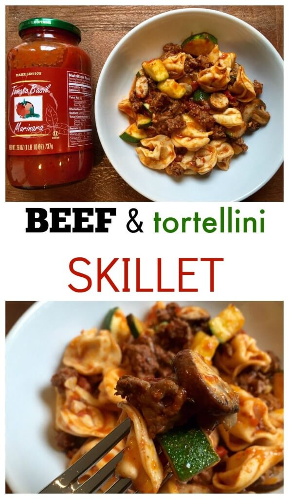 Store bought marinara sauce feels homemade simmered with beef and veggies in this Ground Beef Tortellini Skillet.