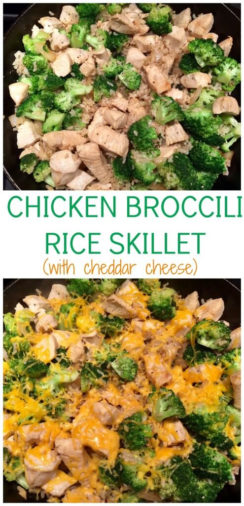 Chicken Broccoli Rice Skillet with Cheddar Cheese skips the canned cream soup and is ready in less than 30 minutes.