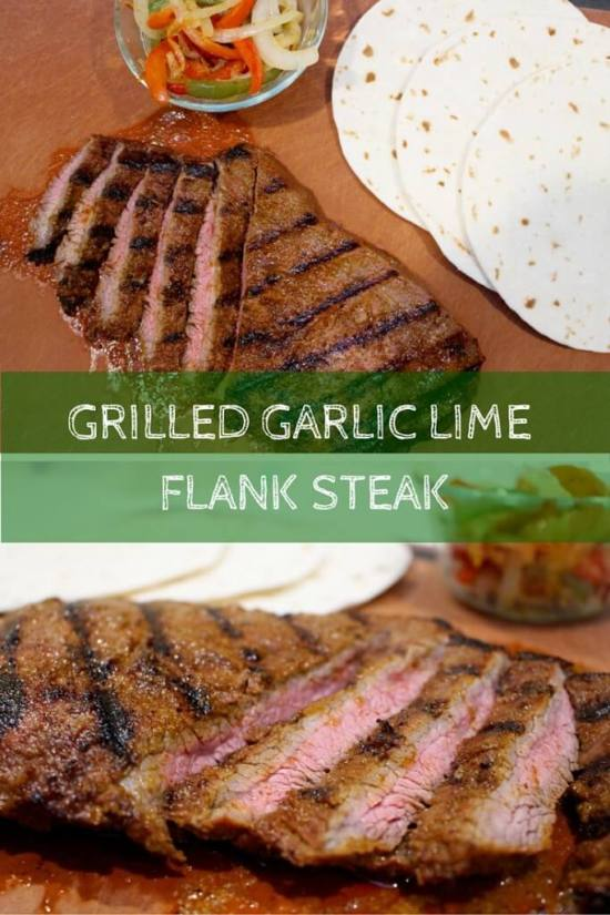 This grilled garlic lime flank steak takes Taco Tuesday to a whole new level with simple ingredients and a flavorful marinade.