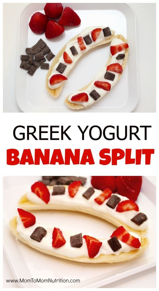 Greek Yogurt Banana Split is healthy twist on the classic indulgent dessert, made with Greek yogurt, fresh berries, and dark chocolate.