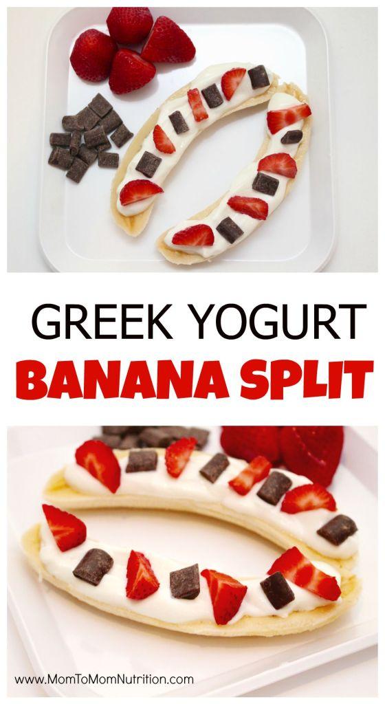 Greek Yogurt Banana Split is healthy twist on the classic indulgent dessert, made with Greek yogurt, fresh berries, and dark chocolate.