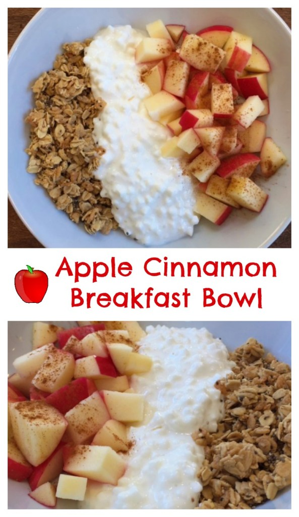 An apple cinnamon breakfast bowl takes less than 5 minutes to make and has the perfect mix of carbohydrates and protein to fuel a busy day! #breakfastbowl #applerecipeshealthy #applerecipeseasy #fallrecipes #kidfriendlyrecipes #kidfreiendlyrecipeshealthy
