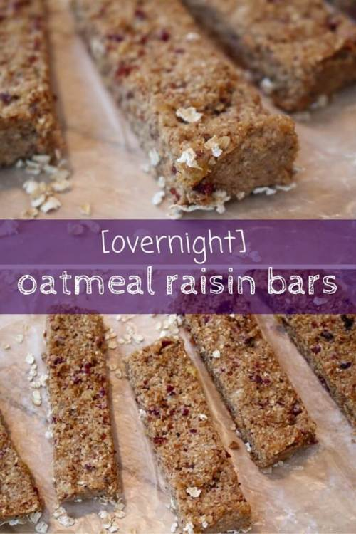 Try this version of overnight oats in a bar with overnight oatmeal raisin bars. Simply make, slice, and serve on the go!