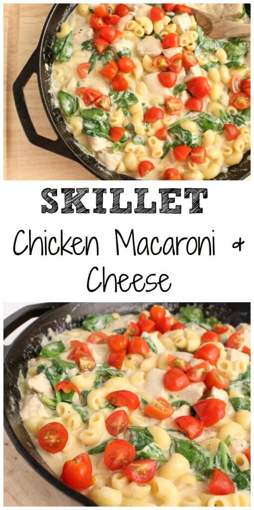 Skillet Chicken, Macaroni and Cheese is made with a homemade cheese sauce, seasoned chicken, and fresh veggies. It's a one-pot pasta your family is sure to devour!