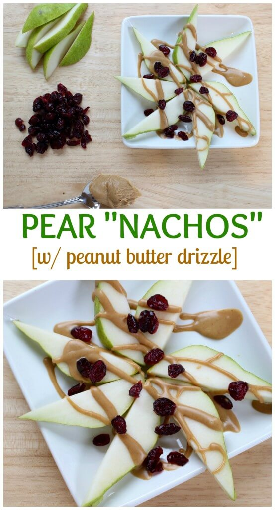 Easy to make pear nachos are a nutritious snack that will fuel any hungry tummy. Pear slices are simply topped with nut butter and dried cranberries.