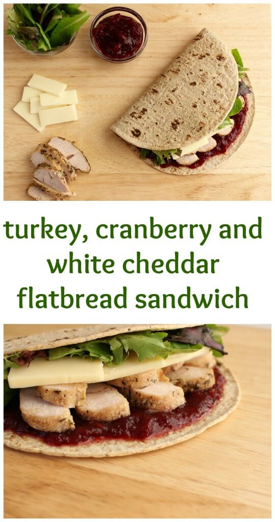 The flavors of Thanksgiving leftovers come together with Flatout Flatbread to make one delicious turkey, cranberry and white cheddar sandwich.