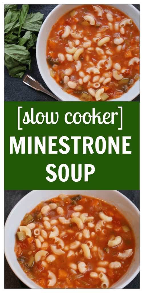 Toss fresh veggies, Italian seasonings and beans in the slow cooker to make one hearty and flavorful slow cooker minestrone soup!