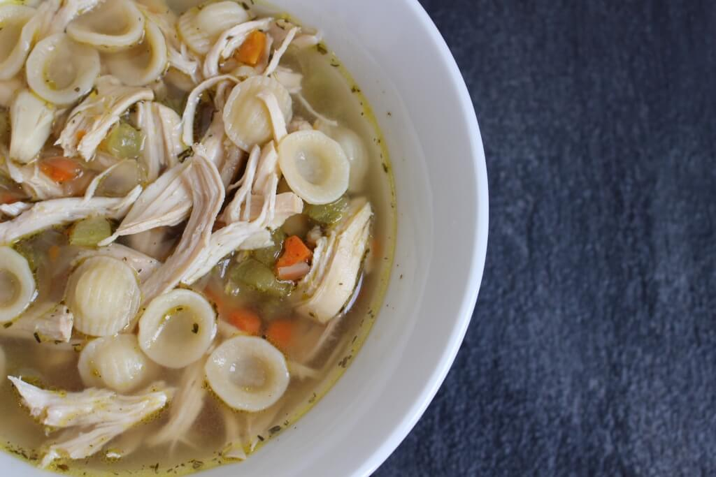 Beat the winter blues or fight off a winter cold with this simple recipe for roasted garlic chicken noodle soup.
