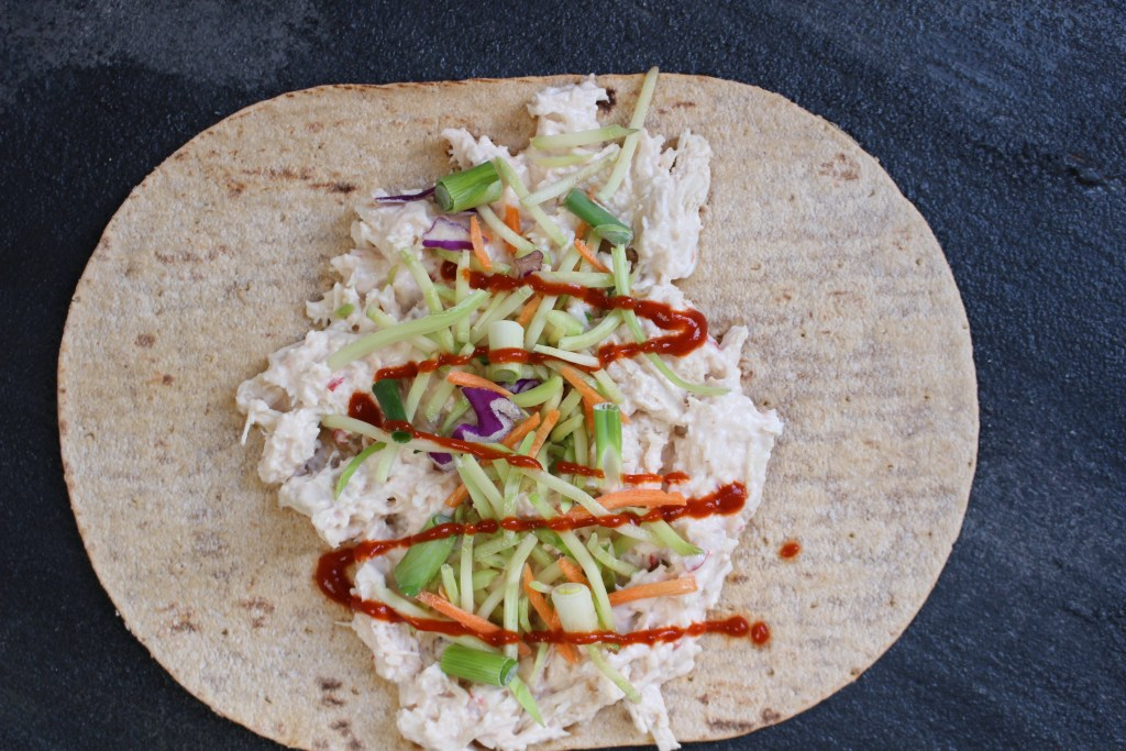 Thai Chicken Salad Wraps make a light and refreshing healthy lunch made in less than 10 minutes with precooked chicken and fiber-filled flatbread.