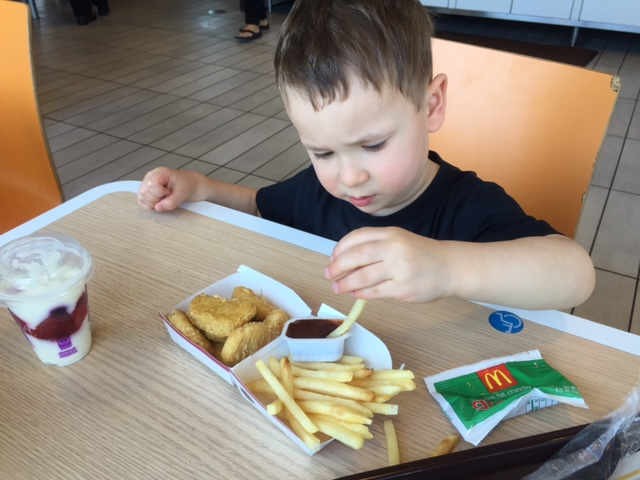 Not sure where breakfast is on Sunday but the guys had a taste of McDonald's for lunch!