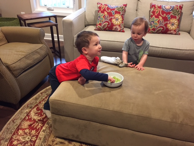 And do you want to know what I've said yes to lately? Eating in front of the tv. While I make dinner.. I give the boys a bowl of fruit that they can nibble on....
