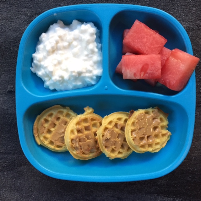 "What My Toddler Eats in a Day If you've had the luxury of making meals for a toddler you'll quickly appreciate the one constant that comes from creating a toddler feeding routine. Here's a look at what my toddler eats in a day- from breakfast to dinner and snacks included! The biggest difference I've noticed between feeding a baby and feeding a toddler is that my toddlers thrive off of a schedule. And that goes beyond mealtime too- they do well with a schedule for activities and sleep. But really, Mom does too, so that shouldn't surprise me that they are following in my footsteps. So what does a day in the life of feeding my toddlers look like? Here you have it! Hopefully Joey and Anthony's toddler feeding schedule provides you with some ideas for structure. And please note, this isn't precise and everyday changes depending on moods, sickness, and lack of sleep! Mom's lack of sleep that is…. Nutrition NOTES: I have to throw this in somewhere and right here seems like a good spot. So at each MEAL, I try to always include these food groups: 3 MEALS DAILY: Fruit + Vegetable + Whole Grain + Protein [this also includes dairy foods] 2 SNACKS DAILY: For each SNACK, I always try to include these food groups: Fruit OR Vegetable + Whole Grain + Protein [this could be milk, which also is part of the Dairy food group] While I think there is a time and place to consider portion sizes [i.e. when they are offered a piece of cake at a birthday party], I'm not one for sitting and measuring out their food. Or do I necessarily keep track of things like, ""today Joey must have 5 servings of fruit and vegetables."" I try to keep my nutrition notes shown above in mind with every meal and snack, and I also rely on their little tummies to tell themselves and ME when enough is enough. Easier said than done when presented with that piece of cake… but that's why I'm not baking everyday! Breakfast: 7:30-8:30am It's smoothie time! These boys love smoothies! Ted and the crew make a smoothie every morning before Ted goes to work (usually with spinach, avocado, fruit, milk, or yogurt). I usually sit back with a cup of coffee and watch their bonding over smoothies--- NOT! I'm racing around folding laundry, showering before Dad leaves, or making them part 2 of their breakfast. Along with a smoothie, I'll offer them a whole grain option, such as an oatmeal breakfast cookie, a piece of peanut butter toast, or a pancake topped with peanut butter or Greek yogurt. This ensures they are getting a good mix of fruit, vegetables, protein, and whole grains to start their day! Mid-Morning Snack: 9:30-10:30am I think Joey and Anthony could live happily off of whole cow's milk and all other dairy products. We are a Midwestern family after all! Their morning snack usually includes some type of dairy product--- milk, cottage cheese, or yogurt. Mix that with a bite or two of Mom's apple, a mini muffin, or Clif Z Bar, and that holds them over until lunch. If we are out and about, then I'm sure to pack fruit and veggie squeeze packs, homemade trail mix, beef jerky, or more Clif Z Bars! Sometimes I'll also have their leftover smoothie from breakfast as their mid-morning snack. Lunch: 11:30-12:00pm Lunch is usually ""everything but the kitchen sink"" for my guys. As much as I like to plan ahead, we are either on the go or running in the front door around lunchtime. They always have some type of fruit (clementines and watermelon are hit on the list right now) served with fresh or roasted veggies [I roast the veggies on the weekend to use all week]. Veggies of choice lately are red bell peppers. Yep. That's it. Red bell peppers. OH and over-cooked broccoli. They chow that…. Along with the fruit and veggie, we have grilled cheese, macaroni and cheese, lunchmeat quesadillas, or anything between two slices of bread with cheese. You catch the theme here, right?! They've also been loving Applegate beef hot dogs and Al Fresco Chicken Sausages. Mid-Afternoon Snack: 2:30-3:30pm The afternoon snack is less messy [meaning Mom doesn't want to clean a yogurt mess]. So we'll do string cheese with Wheat Thins, trail mix, dried cereal with dried fruit, half a peanut butter sandwich, etc. etc. I rounded up a list of my favorite toddler's snack for my friend Lindsay over on her blog last year. There's not much changing in toddler food preferences… so the snack list lives on at the Serbinski's! Dinner: 5:30-6:30pm Dinner. Oh dinner. The dreaded mealtime with toddlers. I've drawn a hard line with this one and the whole family eats what Mom cooks. If there's a toddler protest [which has been known to happen multiple times a week] I make sure I always have something they like on the table--- and some nights that's rolls. I also offer ONE thing that's not on the table as a backup. And I try to make it as bland as possible… like plain cottage cheese! No bells and whistles there. But it's nutritious and a good backup! So there you have it. As you can see, our day revolves around food. Heck, I could write a whole post on a toddler feeding schedule so that only means one thing: toddlers are food obsessed!"