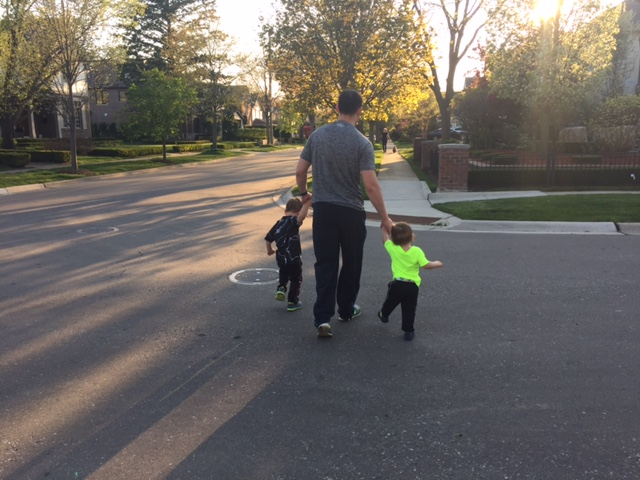 Thankfully they gladly hold Dad's hand when crossing the street... what's with that?!