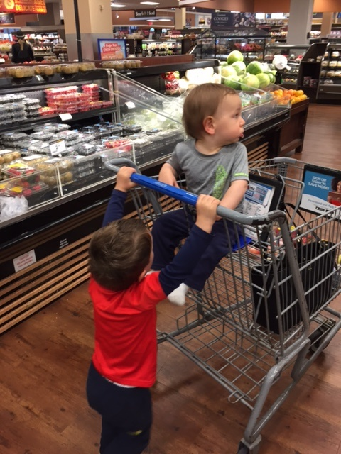 HANG ON ANTHONY!!! Please excuse the blurry images in this post. Can you imagine trying to get your toddlers to pose while grocery shopping?! Oh and also excuse the fact that the kiddo in the cart is not wearing shoes....