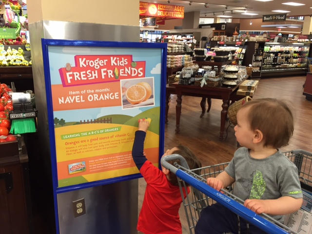 The Kroger Fresh Kids program sign! Checking to see which item is on the list this month!