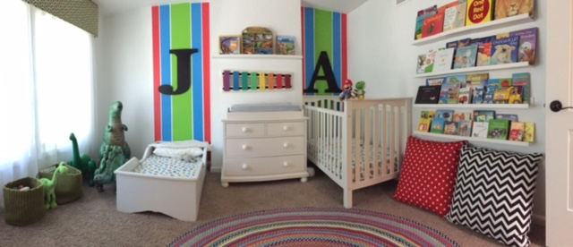 The bash bro's new room! Cozy, colorful, and sleep-inviting, am I right?!