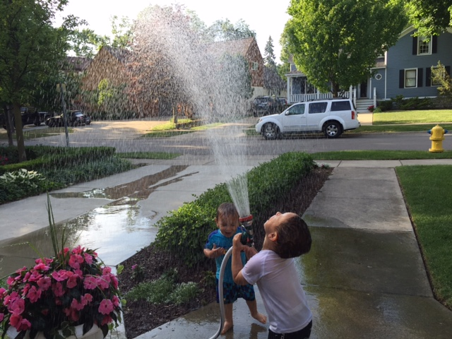 Watering the flowers has become our favorite pre-dinner activity!