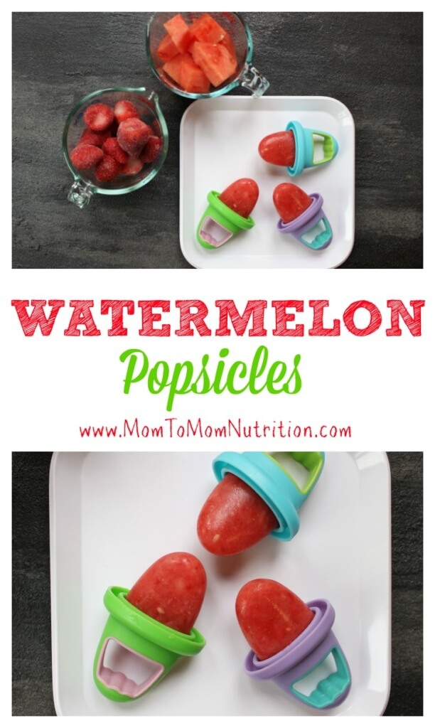 These watermelon popsicles are made with fresh and frozen fruit and zero added sugar, making the perfect healthy refreshing treat for any hot summer day!