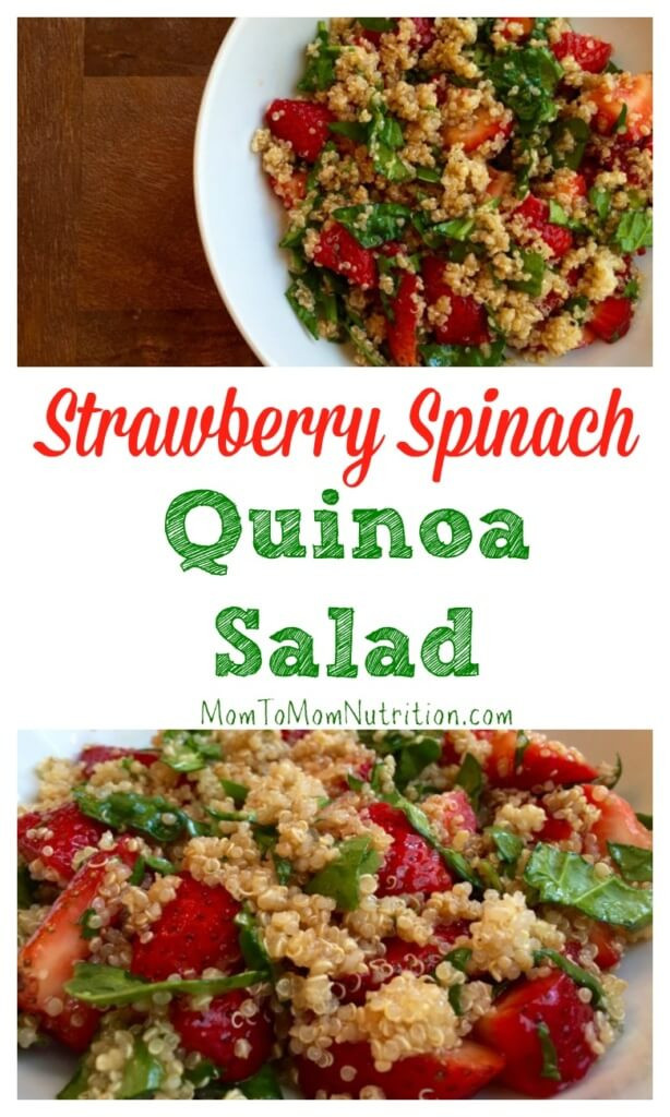 Strawberry spinach quinoa salad screams summer with the fresh strawberries and simple balsamic dressing. Topped with grilled chicken and you have a meal!