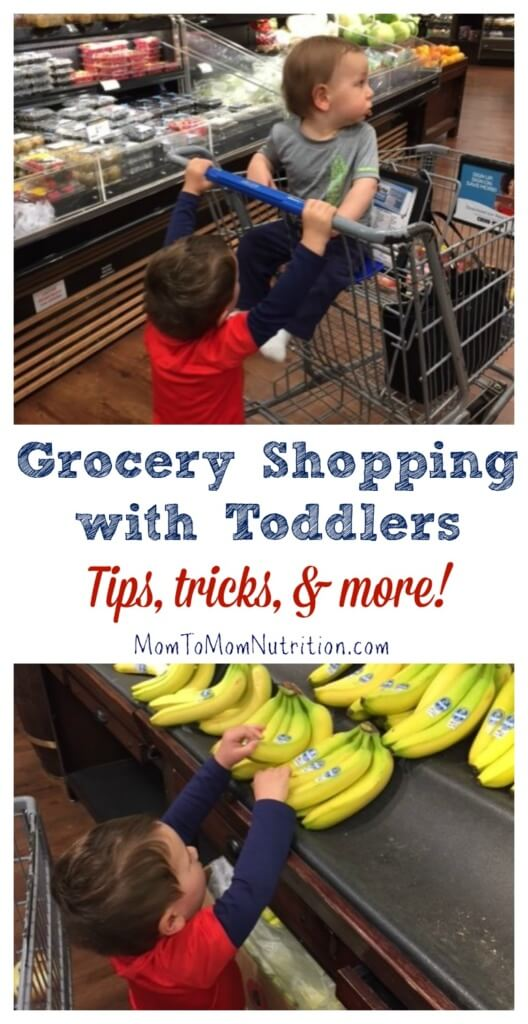 From letting your kids choose a new food item to talking about fresh produce with them, learn some tips and tricks to grocery shopping with toddlers!