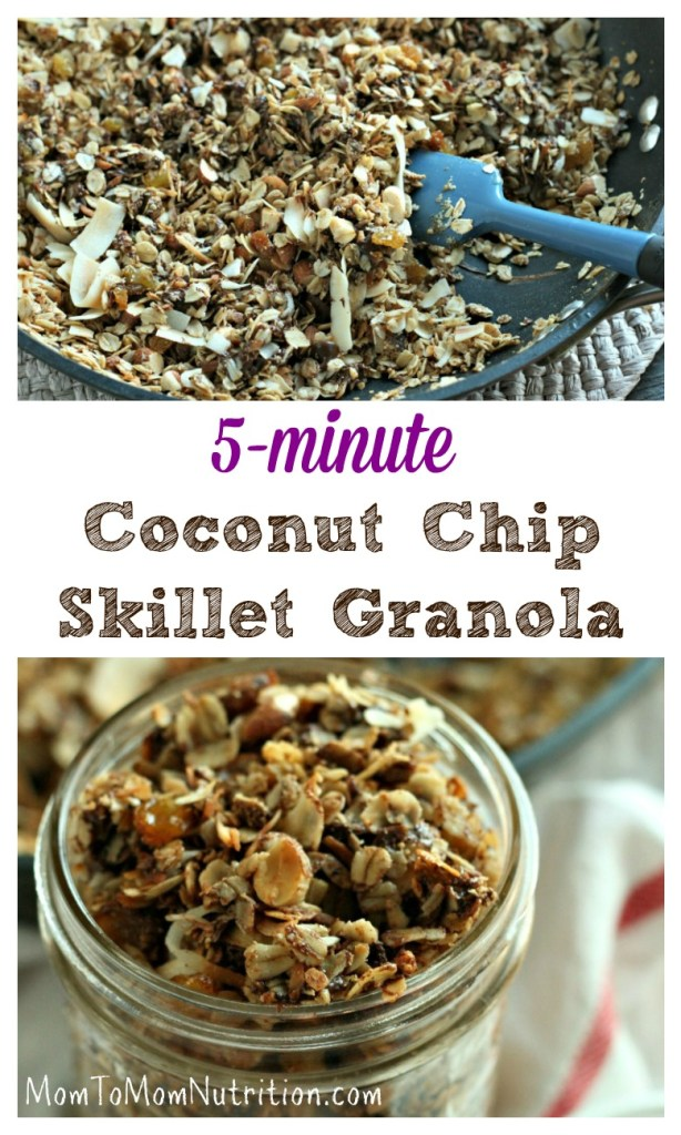 Skillet Granola gives you the flavor and taste of homemade granola in just about 5 minutes without turning on the oven! #quickandeasygranola #skilletgranola #coconutchipgranola #healthygranolarecipe #kidfriendlysnacks #kidfriendlyrecipe #easybreakfastrecipe