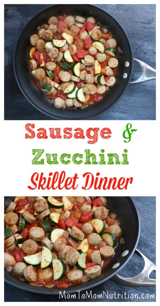 This sausage and zucchini skillet is a quick and easy weeknight meal on its own, or delicious served over brown rice or pasta.