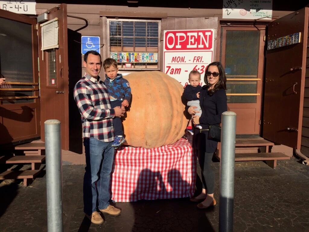 What I love about fall: family, pumpkins, and cider mills! Oh and here we are pictured as a family of 5! This was taken shortly after I found out I was pregnant with Lily last year!