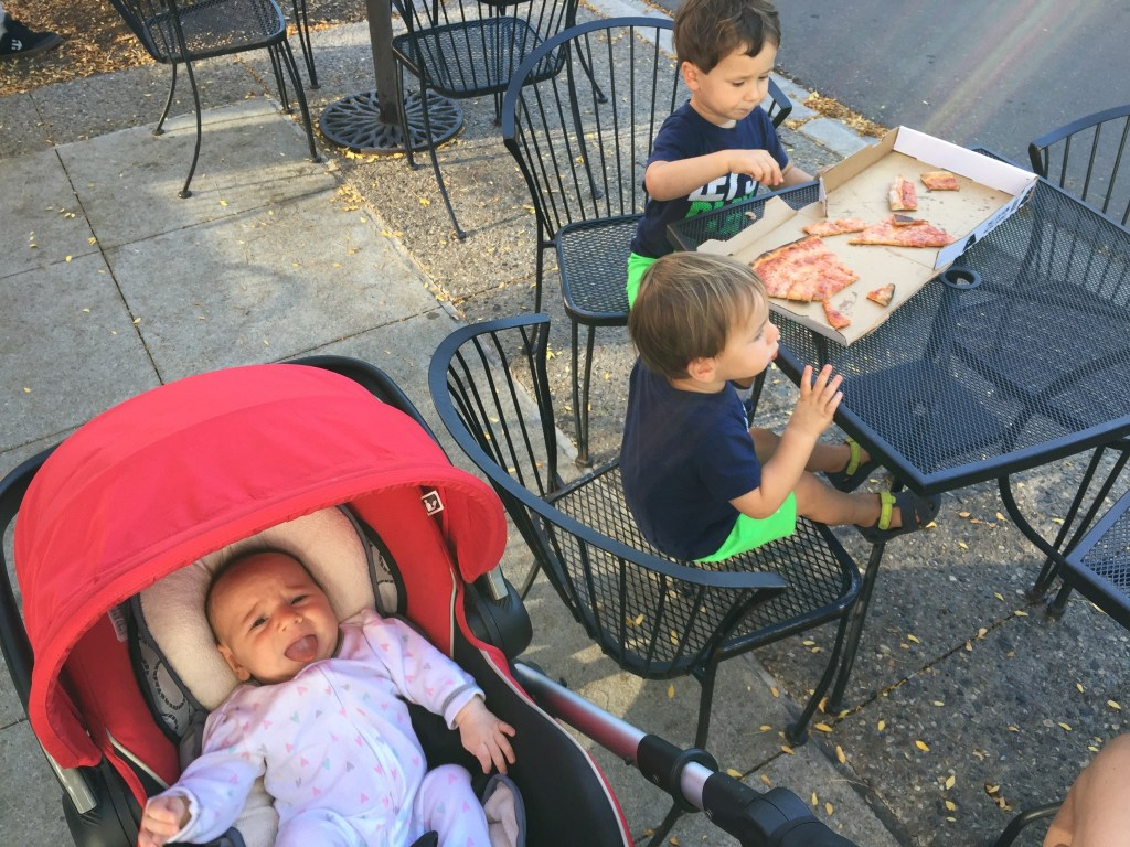 Here's another theory as to why Lily won't take a bottle---> she wants to eat pizza like her bros!