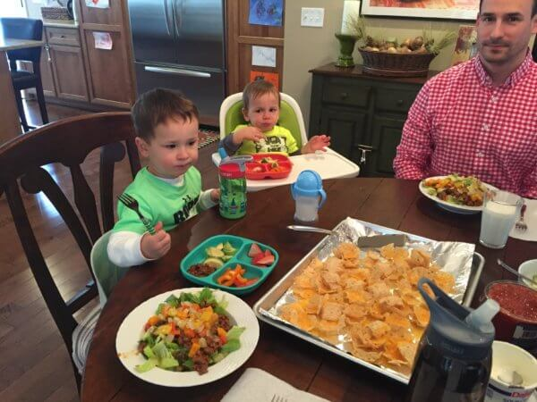 How family meals look in our house. And yes, the boys go straight for the melted cheese and tortilla chips!
