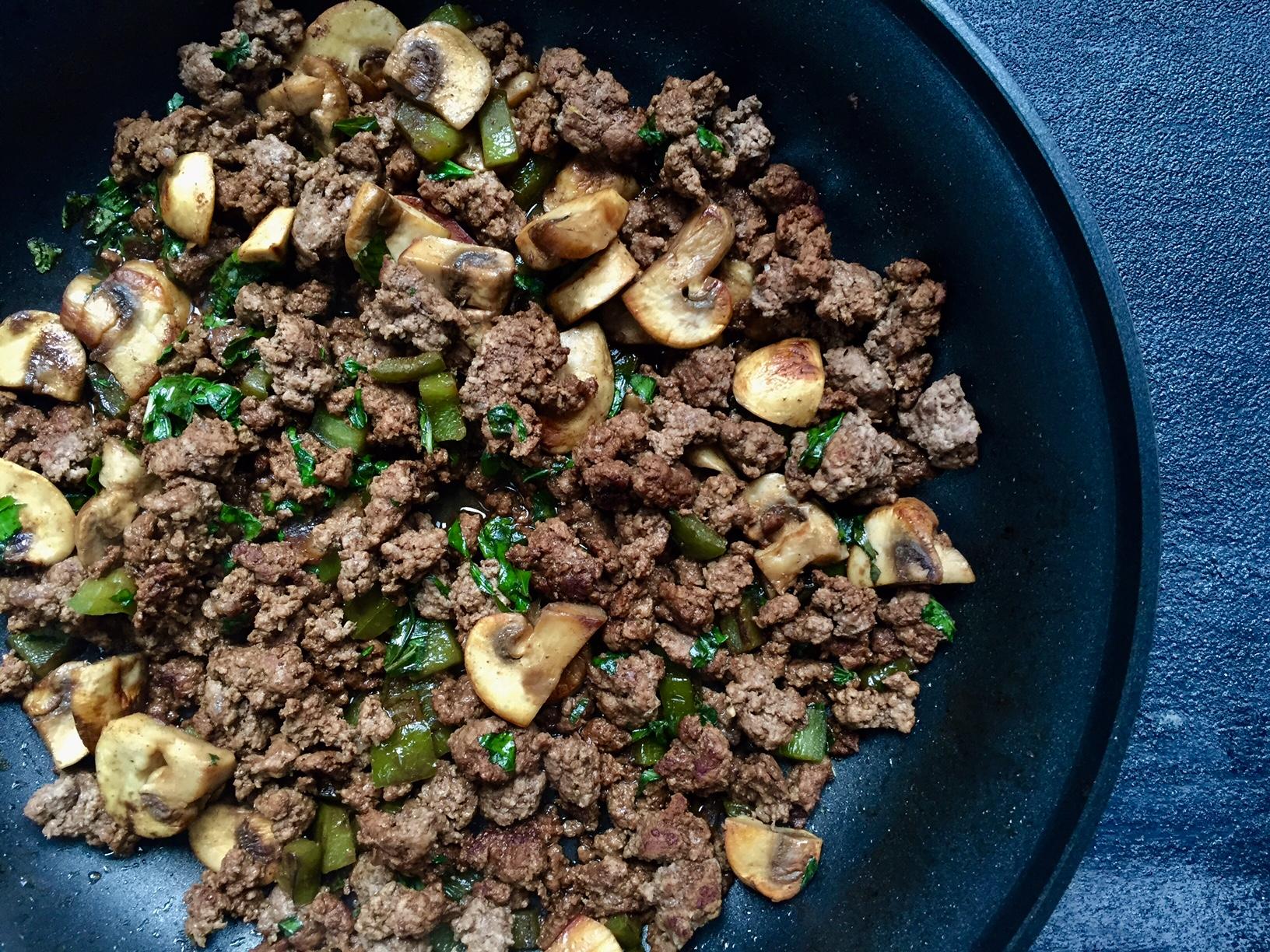 Easy Mushroom and Ground Beef Skillet
