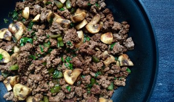 This mushroom and ground beef skillet is an easy skillet dinner that is delicious as-is, or served on top of baked potatoes, brown rice, or quinoa.