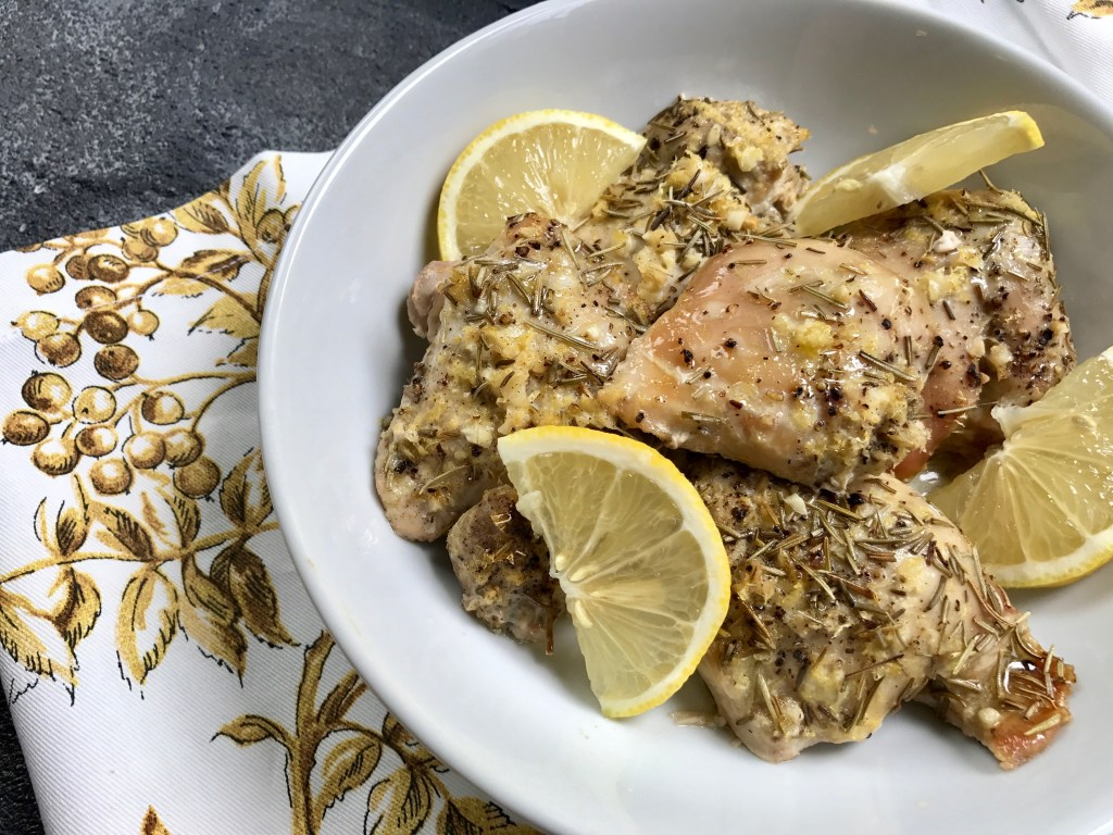 Lemon rosemary chicken thighs make one simple weeknight meal with pantry staple ingredients and the ease of your slow cooker! Fancy enough for entertaining or simple enough for an everyday dinner.