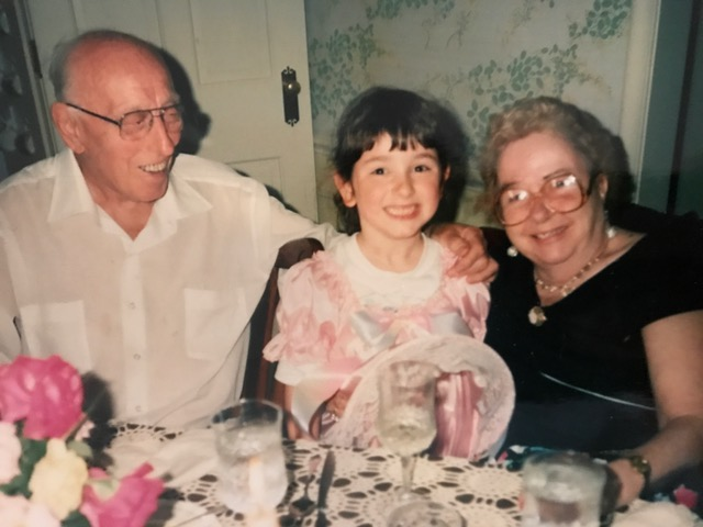 The two that made family meals a priority in our family, my Grandpa and Grandma Caputo---- pictured with a 5-year-old me!