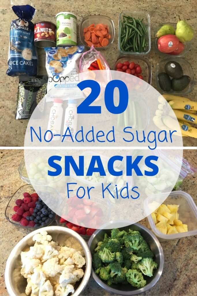 This list of no-added sugar snacks is a great reference of nutritious snacks for kids and parents looking for lower sugar options.