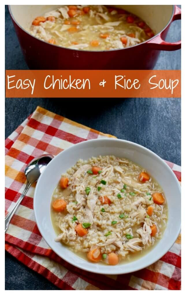 Chicken and rice soup is comfort food in a bowl made with few ingredients and packed full of flavor!